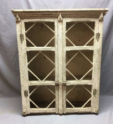 """Large 31""""x37"""" Antique Wood Medicine Cabinet Old Shabby Country Cupboard 187-20E"""