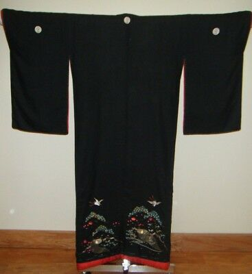 Rare Meiji Japanese Uchikake Bridal Kimono w/ Embroidered Cranes & Tortoises