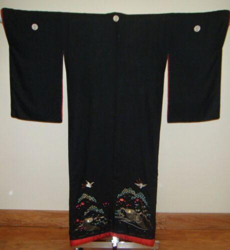 Meiji Japanese Uchikake Bridal Kimono w/ Embroidered Cranes & Tortoises - R1428