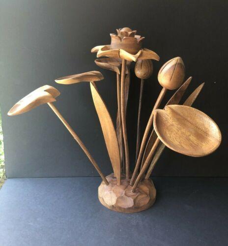 Vintage Mid-Century Monkey Pod Wood Flower Leaf Art Sculpture Arrangement MCM