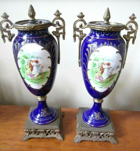 ANTIQUE PAIR FRENCH SEVRES(?) URNS LAMPS COBALT BLUE GILT PORCELAIN BRASS LARGE