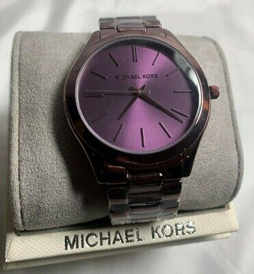 Michael Kors Slim Runway Purple / Violet Coated Watch MK4415 MSRP $225