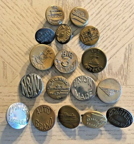 """LOT OF 17 OVERALL WOBBLE SHANK WORK CLOTHES BUTTONS 5/8""""-7/8"""""""