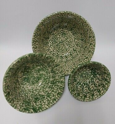 Set Of 3 Workshops Gerald E Henn Pottery Green Heavy Spongeware Mixing Bowls