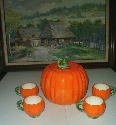 *PUMPKIN CERAMIC COOKIE JAR & 4 HOT COCO/TEA CUPS OLLIE 1979 BRIGHT ORANGE