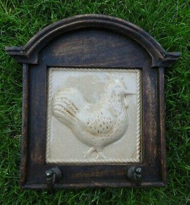"""Vintage Wooden Hanging Rooster Tile Key Holder Hook Rack 10"""" Tall & 10"""" Wide"""