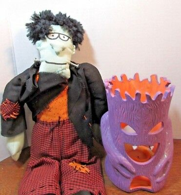 lot of 2 Halloween decorations Home Decor-frankenstein stuffed doll  tree candle (Home Decorations Halloween)
