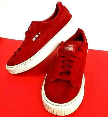 Puma Suede Platform Sneaker Shoes Leather Red Trainers - Size 5 - Unisex