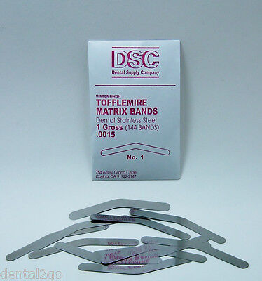 Tofflemire Matrix Bands 144 Dental Matrix Bands No 1 .0015 Gross Pack