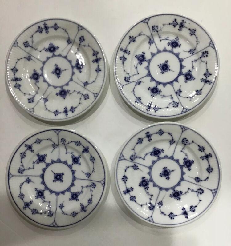 """4 Royal Copenhagen BLUE LACE FLUTED Small Dessert Bread Butter Plate 5 3/4"""" #331"""