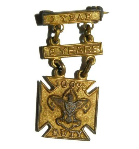 Boy Scouts BSA 100% Duty Award Pin XX Gold Plate Vintage Lapel Pin 1 year 6 year