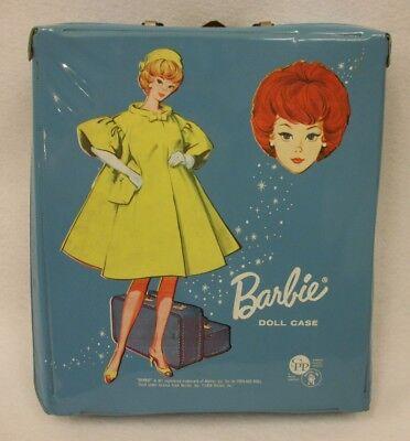 Vintage 1958 Blue Barbie Doll Case with Bubble Cut Doll Images