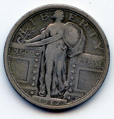 1917 TYPE 1 STANDING LIBERTY QUARTER SEE PROMO