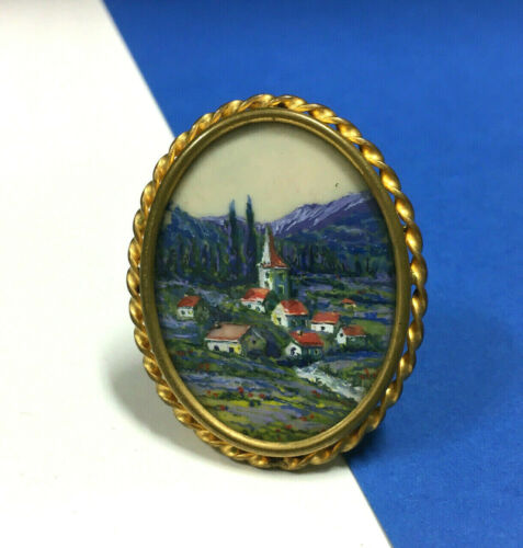 Vintage FRANCE Landscape Cameo Brooch Hand Painted French Alps Trombone BB35E