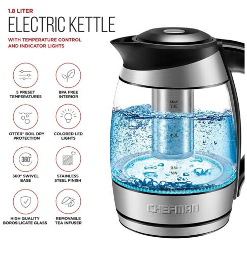 Smart Glass Kettle Electric Temperature Tea Pot StainLess In