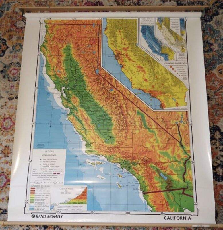 RAND MCNALLY PULL DOWN MAP OF CALIFORNIA