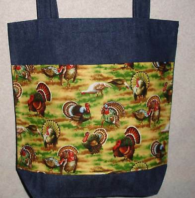 NEW Handmade Large Wild Turkey Thanksgiving Tote Bag