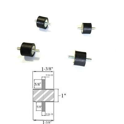 4 Rubber Vibration Isolator Mounts 1-38 Dia X 1 Thk 516-18 X 58 Long Studs