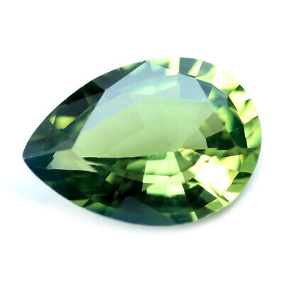 Certified Natural Green Sapphire 0.77ct VVS Clarity Madagascar Pear 6.9x4.9 mm