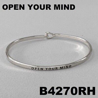 Elegant Silver Finished OPEN YOUR MIND Message Engraved Brass Bangle - Message Bracelets