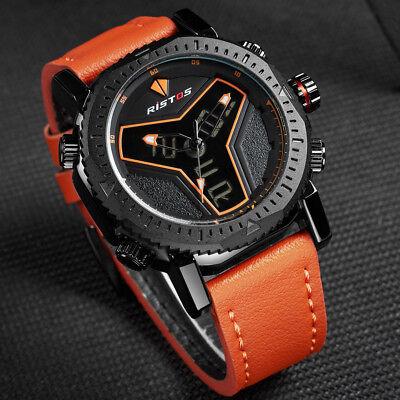 Men's Sports Fashion Analog & LED Digital Leather Strap Waterproof Wrist Watch