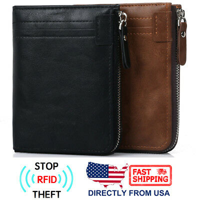 Men's RFID Blocking ID Window Zipper Pocket Leather Bifold Wallet