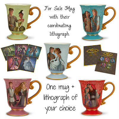 Disney Designer Fairytale Couples Mug Ariel Snow White Belle Rapunzel Jasmine