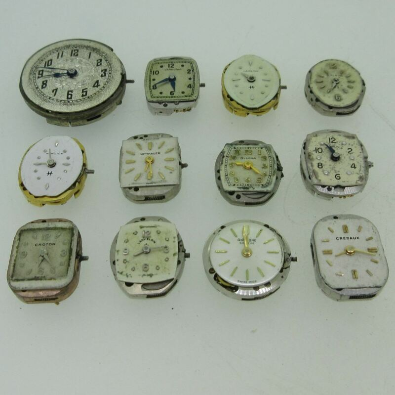 Lot of 12 Vintage Swiss and U.S.A. Bulova, Hamilton and More Mechanical Movement
