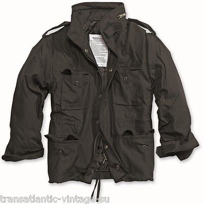M65 COMBAT FIELD JACKET MENS VINTAGE TYPE MILITARY ARMY COAT QUILTED LINER BLACK
