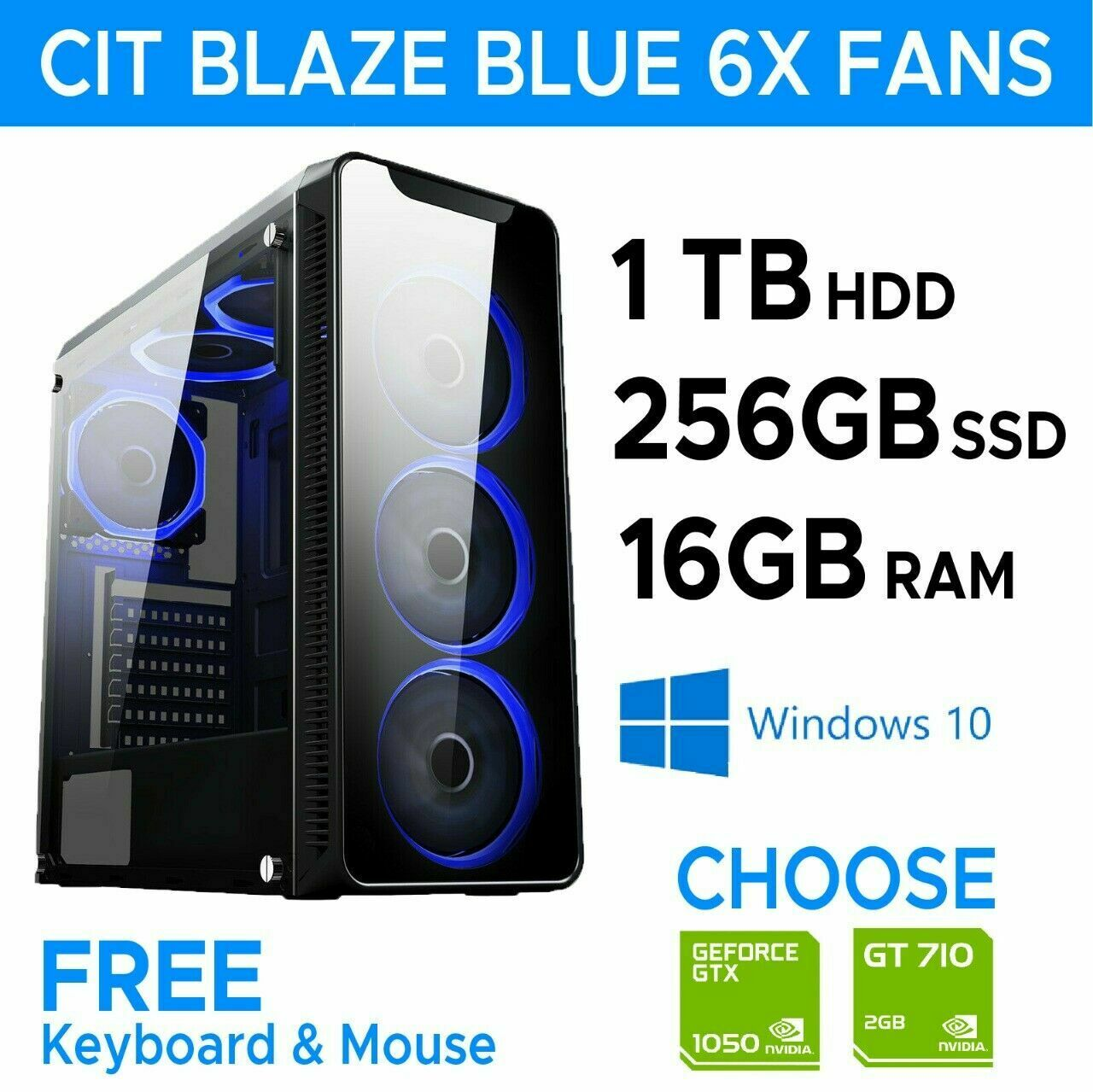 Computer Games - ULTRA FAST Gaming PC Computer Intel i7 256 SSD+1TB 16GB RAM 6 Fans,GTX 1050T1 GB