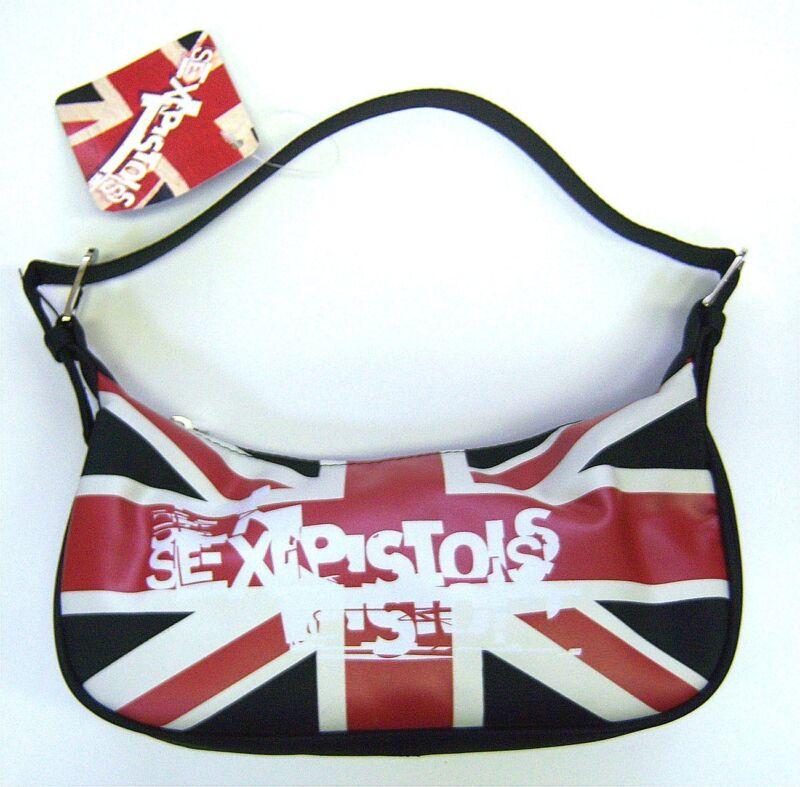Sex Pistols Uk Flag Logo Black Shoulder Hand Bag Purse New NWT Official