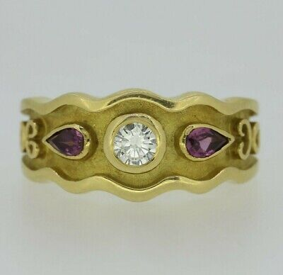 18ct Yellow Gold Garnet & Diamond Ring Size N