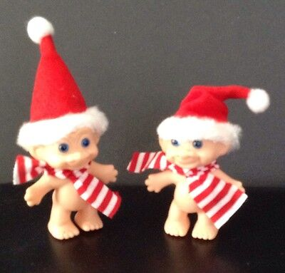 TROLLS Vintage Unmarked CHRISTMAS Lot 2 Troll Dolls Santa Hats Made in Korea 2½