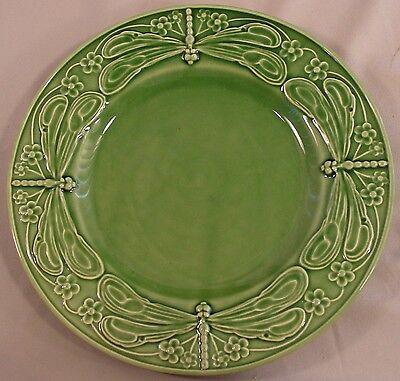 "Dinner Plate  in Dragonfly (Green) by Bordallo Pinheiro  ""MAJOLICA"""