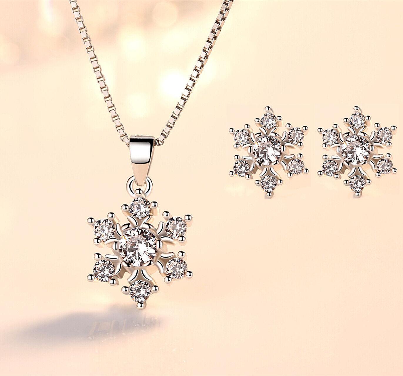 Jewellery - 925 Sterling Silver Snowflake Stud Earrings Pendant Necklace Womens Jewellery UK