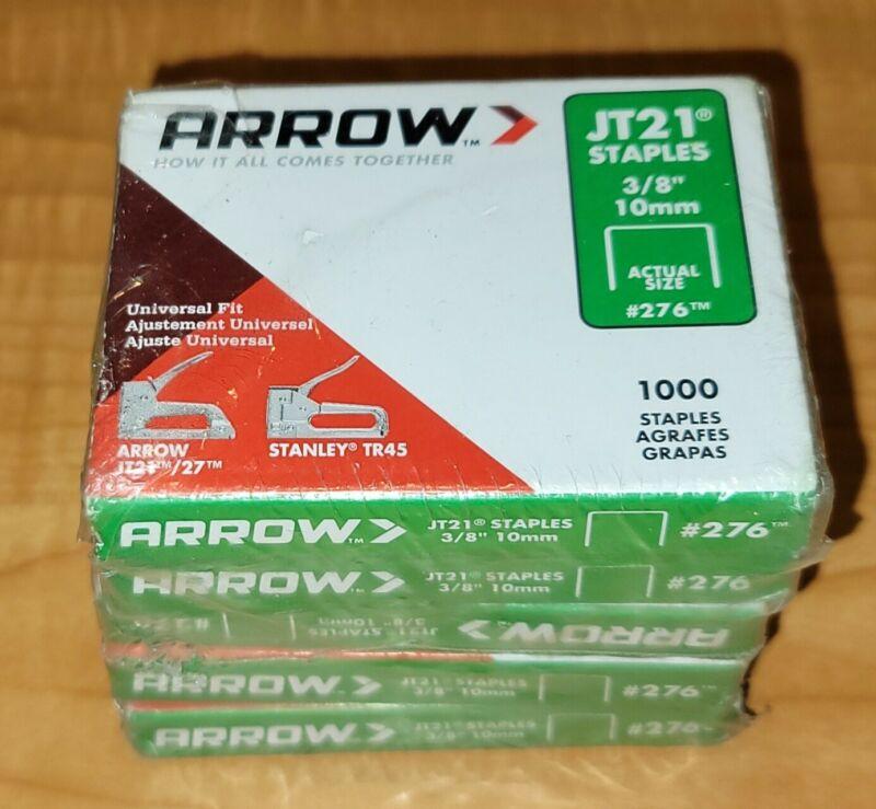 5 Packs Arrow JT21 Light Duty Staple 3/8 In. #276 (1000-Staples per pack)
