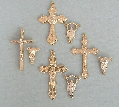 Gold Italian Crucifix (8 Crucifix Centers ITALY Rosary Italian Centerpieces Part Cross S102 finish GOLD )