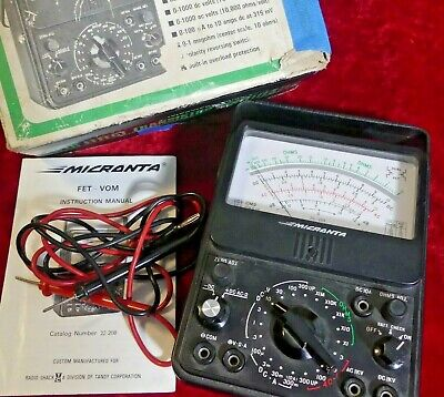 Micronta 22-208 Fet Multitester Multimeter Vom W Probes And Box Solid State Vtvm