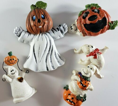 Vintage Halloween Brooches Pin  Ceramic Ghosts Jack O Lanterns Lot 🎃