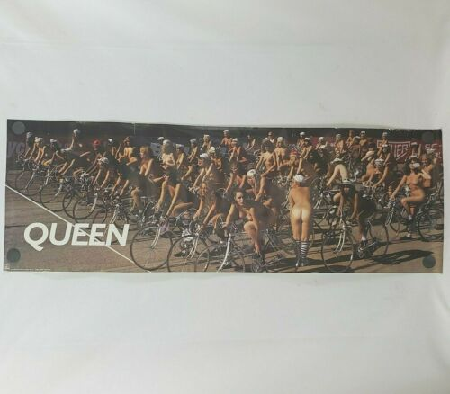 """Vtg 1991 Queen Bicycle Race Poster 12x36"""" Promotional Hollywood Records"""