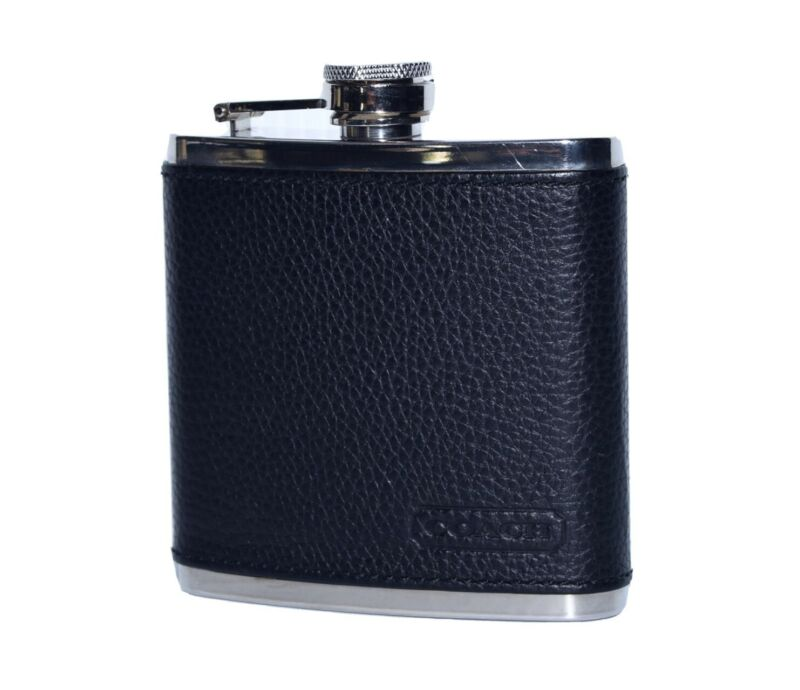 COACH Black Leather Wrapped Stainless Steel Flask 6oz
