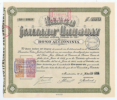 Banco Italiano Del Uruguay  100 Gold Pesos 1924 Share With Handstamps Revenues