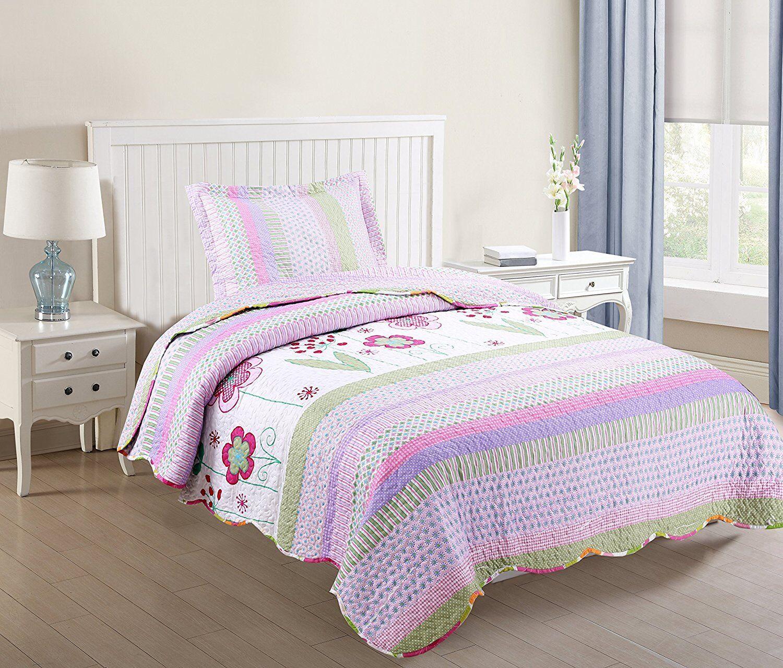 Kids Bedspread Quilts Set Throw Blanket for Teens Boys Girls