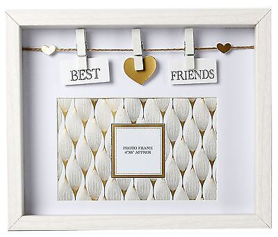 Clothes Line White Wooden Box Frame With Pegs For 6 x 4 Photo ~ Best