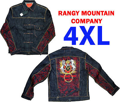 New Men's Rangy Mountain Company (RMC) Cotton 4XL Blue Jean Jacket Coat Outwear