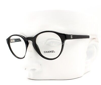 CHANEL 3231 501 Round Eyeglasses Glasses Frames Polished Black (Women's Round Eyeglass Frames)