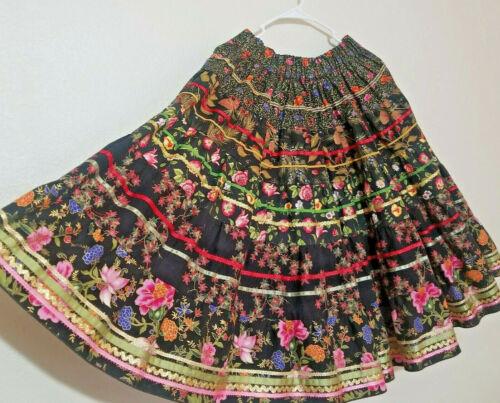 Vintage London Bridge Mondiki Floral SQUARE DANCING Ribbon Circle Skirt