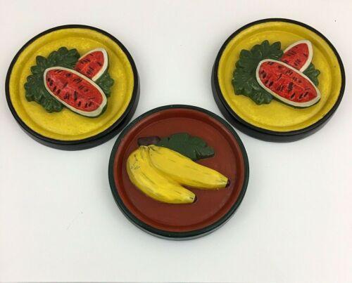 Vintage Chalkware Plaster Retro Fruit Wall Hanging Plaques Set of 3