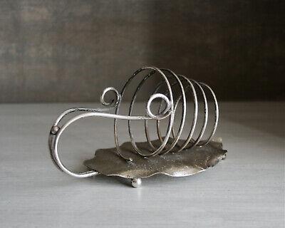Vintage leaf toast rack. Silver plated, Art Nouveau. Leaves tendril spiral. EPNS