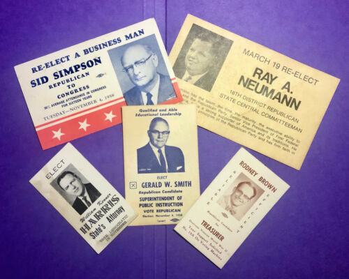 Mid-Century Campaign Cards for Political Candidates in Illinois, Lot of Five (5)